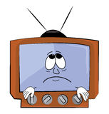 Traurige Fernsehkarikatur Stockbild