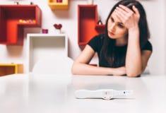 Traurige Frau des negativen Schwangerschaftstests, Unfruchtbarkeit stockbild