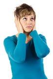 Traurige Frau, die oben schaut Lizenzfreie Stockfotos