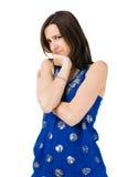 Traurige junge Frau getrennt auf weißem Hintergrund Lizenzfreies Stockfoto
