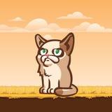 Traurige Katze, die aus den Grund, Illustration sitzt Lizenzfreies Stockfoto