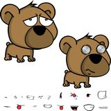 Traurige kleine Großkopfbaby-Teddybärausdrücke eingestellt Stockbilder
