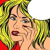 Traurige Mädchen Pop-Arten-Weinlese komisch lizenzfreie abbildung