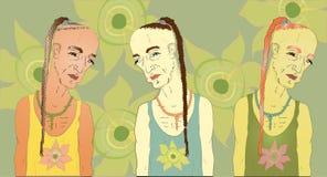 Traurige männliche Hippie, mit einem Zopf Ein Satz von drei mit verschiedenen Farben Stockfoto