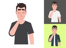 Traurige Mannvertretung ein Geste facepalm stock abbildung
