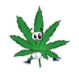 Traurige Marihuanakarikatur Stockfoto