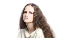 Traurige melancholic deprimierende Frau Lizenzfreie Stockfotos