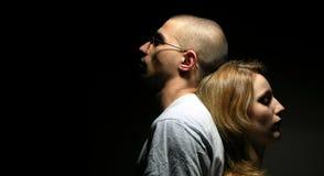 Traurige Paare mit jungem Mädchen und Jungen 4 Stockfotos