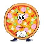 Traurige Pizzakarikatur Stockbild