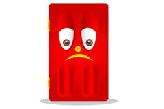 Traurige rote Tür stockfoto