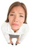 Traurige schreiende enttäuschte Geschäftsfrau Stockbild