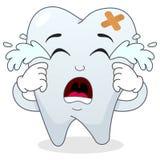 Traurige schreiende kranke Zahn-Zeichentrickfilm-Figur Lizenzfreie Stockfotos