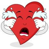 Traurige schreiende rote Herz-Zeichentrickfilm-Figur Stockfotos