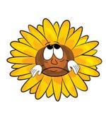 Traurige Sonnenblumenkarikatur Lizenzfreie Stockfotografie