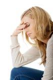 Traurige und deprimierte Frau Stockfotos