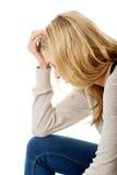 Traurige und deprimierte Frau Stockfotografie