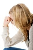 Traurige und deprimierte Frau Lizenzfreie Stockbilder