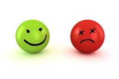 Traurige und glückliche Emoticons Stockfoto