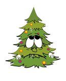 Traurige Weihnachtsbaumkarikatur Stockbilder
