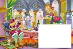 trauriger alter König und nette Prinzessin Lizenzfreies Stockbild