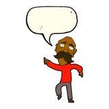 trauriger alter Mann der Karikatur, der mit Spracheblase zeigt Lizenzfreies Stockbild