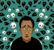 Trauriger deprimierter afrikanischer Mann mit schlechten Gedanken lizenzfreie abbildung