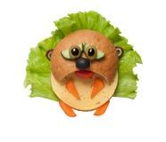 Trauriger Hamster gemacht vom Brot und vom Gemüse auf lokalisiertem Hintergrund Stockfotos