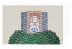 Trauriger Junge, der den Regen überwacht Stockfotografie