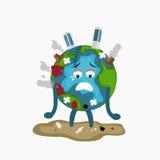 Trauriger Kranker Erath-Kugel ermüdete von der Abholzung der globalen Erwärmung der Verschmutzung voll der schmutzigen Abfallumwe Stockfoto
