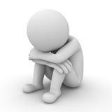 Trauriger Mann 3d, der auf Weiß sitzt Stockbilder