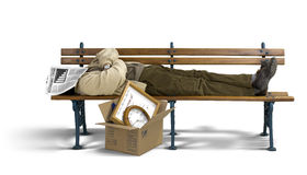 Trauriger Mann, der auf einer Bank schläft Lizenzfreies Stockbild