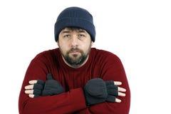 Trauriger Mann mit Hut und Handschuhen Stockfotografie