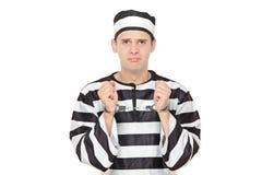 Trauriger männlicher Gefangener mit den Handschellen Stockfoto