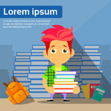 Trauriger Student Cartoon Guy Study Problem Hold Pile Lizenzfreie Stockfotos