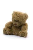 Trauriger Teddybär getrennt auf weißem Hintergrund Stockfotos