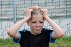 Trauriger Torhüter lizenzfreies stockbild
