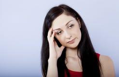 Trauriger und deprimierter Brunette Stockfotografie