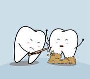 Trauriger Zahn der netten Karikatur und bakterielle Plakette Stockfoto