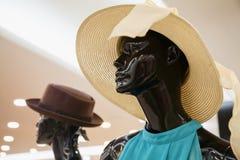 Trauriges Damenmännchen, das einen Strohhut in einem Shopfenster trägt stockbilder