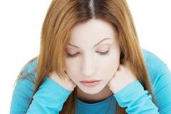 Trauriges deprimiertes Frauenporträt Lizenzfreie Stockbilder