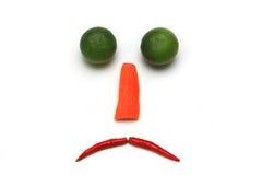Trauriges Gesicht mit dem Gemüse lokalisiert Lizenzfreie Stockfotografie