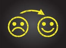 Trauriges Gesicht zu einem glücklichen Gesicht Lizenzfreie Stockbilder