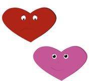 Trauriges Herz und glückliches Herz Lizenzfreie Stockfotos