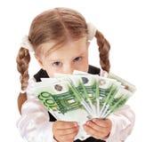 Trauriges Kind mit Geldeuro. Stockfotografie