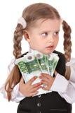 Trauriges Kind mit Geldeuro. Lizenzfreie Stockbilder