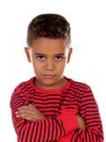 Trauriges Kind mit rotem gestreiftem T-Shirt stockbilder