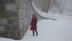 Trauriges Mädchen, das auf die Flusspromenade im Winter geht stock footage