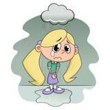 Trauriges Mädchen unter Regen Stockfotos