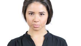Trauriges schönes Mädchen-Porträt, gesorgt und verärgert Stockfoto