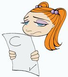 Trauriges Schulemädchen Stockbild